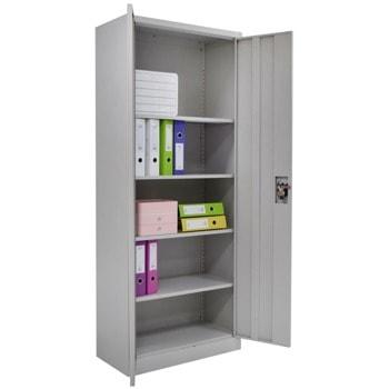 Метален шкаф RFG DZX-025H, 4x рафтове, прахово боядисан, метален, заключване, регулируема височина на рафтовете, сив image