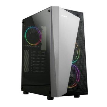 Кутия Zalman ZM-S4-PLUS, ATX/mATX/Mini-ITX, USB 3.0, прозорец, RGB вентилатори, черна, без захранване image