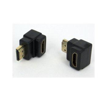Преходник VC-010, от HDMI(м) към HDMI(ж), ъглов на 90°, черен image