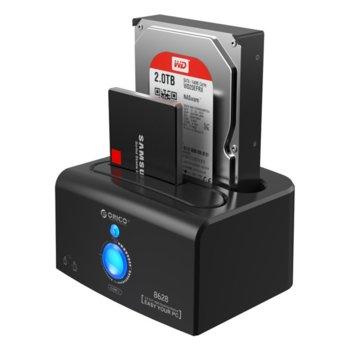 """Докинг станция Orico 8628SUS3-C, за 2.5"""" & 3.5"""" харддискове, eSATA/USB3.0, черна image"""