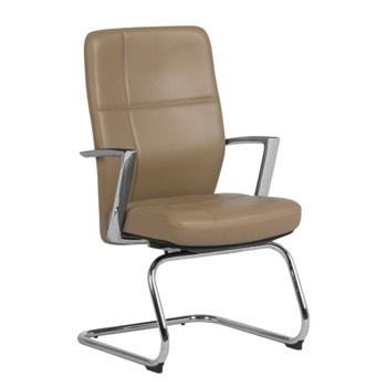 Посетителски стол Carmen Siena, естествена кожа, подлакътници, до 130 kg., алуминиева база, лумбална опора, бежов image