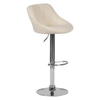 Бар стол Carmen 4020, до 100кг, еко кожа, хромирана база, газов амортисьор, коригиране на височината, крем image