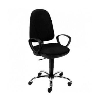 Офис стол Pegaz Ergo Chrome GTP C11, дамаска, подлакътници, газов амортиьор, черен image