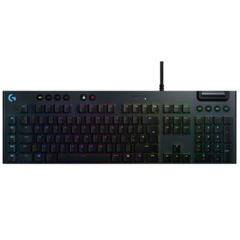 Клавиатура Logitech G815, геймърска, механична, linear суичове, RGB подсветка, нископрофилни клавиши, US layout, черна, USB image