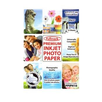 Фотохартия Fullmark PPIPH10 Inkjet Photo Paper Glossy, A4, гланцирана, 180 g/m2, 10 листа image