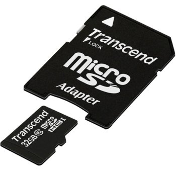 Карта памет 32GB microSDHC, Transcend Premium (TS32GUSDHC10), с SD адаптер, Class 10 200X, скорост на четене 30MB/s, скорост на запис 30MB/s image
