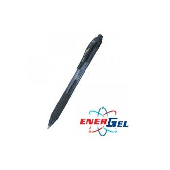 Автоматичен ролер Pentel Energel BL107, черен цвят на писане, дебелина на линията 0.7 mm, гел, черен, цената е за 1бр. (продава се в опаковка от 12бр.) image