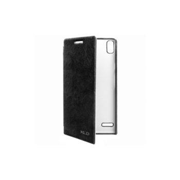 Калъф Huawei Ascend P6, отваряем, еко кожа, Kalaideng Enland Series, черен image