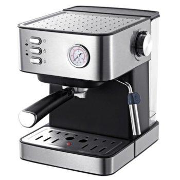 Кафемашина Finlux FEM-1793, 850W, 15 bar-a, защита от прегряване,регулируема пара за улеснена работа, филтър за перфектен каймак, сребриста image