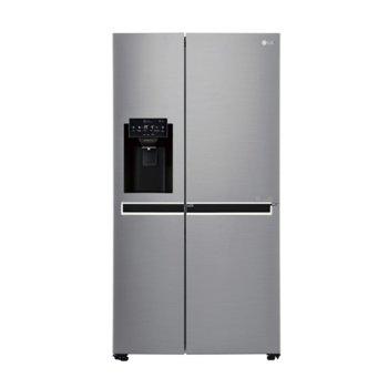 Хладилник с фризер LG GSJ760PZXV, клас A+, 601 л. обем, смарт диагностика, Total No Frost, Диспенсър за лед и вода, инокс  image