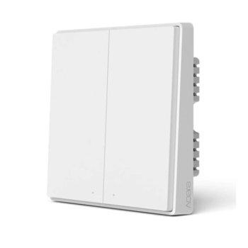 Смарт превключвател Xiaomi Aqara Mi Mijia (QBKG22LM), за стена, включване/изключване на осветление, Wi-Fi, безжична връзка ZigBee, бял image