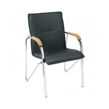 Посетителски стол Samba, еко кожа, подлакътници, хромирана база, черен image