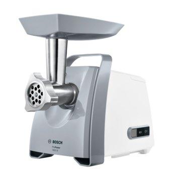 Месомелачка Bosch MFW 45020, капацитет 2,7 кг/мин, защита от претоварване, 500W, бяла  image