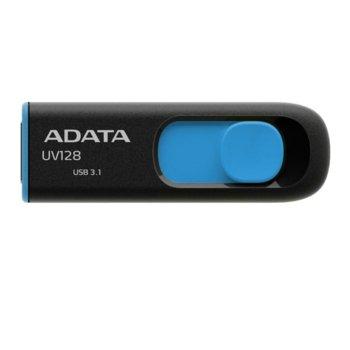 Памет 64GB USB Flash Drive, A-Data UV128, USB 3.1, черно/синя image