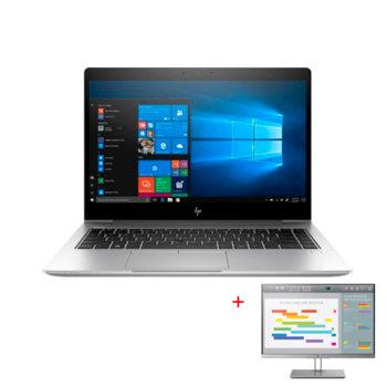 """Лаптоп HP EliteBook 840 G6 (6XD49EA)(сребрист) в комплект с монитор HP EliteDisplay E243i, четириядрен Whiskey Lake Intel Core i7-8565U 1.8/4.6 GHz, 14.0"""" (35.56 cm) FHD Anti-Glare Display, 16GB DDR4, 512GB SSD, Thunderbolt, Windows 10 Pro image"""