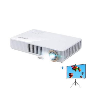 """Проектор Acer PD1520i с подарък екран Acer T82-W01MW (82.5""""), DLP, Full HD (1920 x 1080), 1 000 000:1, 3000 lm, HDMI, VGA, USB, Stereo mini jack image"""
