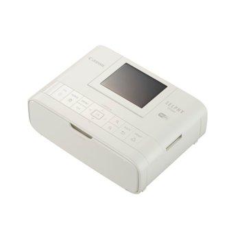 """Мобилен принтер Canon SELPHY CP1300(бял), цветен термосублимационен фотопринтер, 300x300 dpi, 3.2"""" (8.12cm) цветен TFT дисплей, Wi-Fi, SDXC слот, miniUSB Type B, пощенска картичка 148x100mm image"""