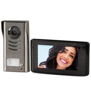 """Комплект еднофамилна видеодомофонна система Farfisa 1SEK, 7"""" (17.78cm) LCD touch screen OSD екран, едноабонатна, стенен монтаж, двужилен кабел, LED диоди за нощно виждане, подсветка на бутоните, сив/черен image"""