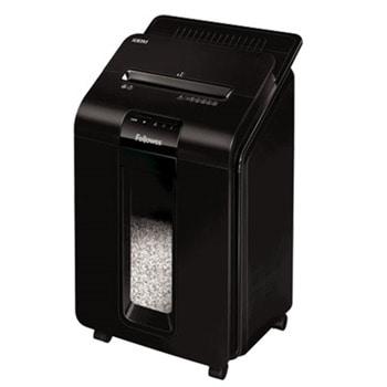 Шредер Fellowes 100M Micro Cut, до 10 листа А4 ръчно/до 100 листа А4 автоматично, раздробява карти/хартия/телчета/кламери, Аuto Max технология, кошче за отпадъци с обем 23 литра image