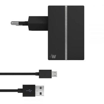Зарядно устройство Just Wireless Mains Charger EU, от MicroUSB(м) към контакт, 2.4A, черно image