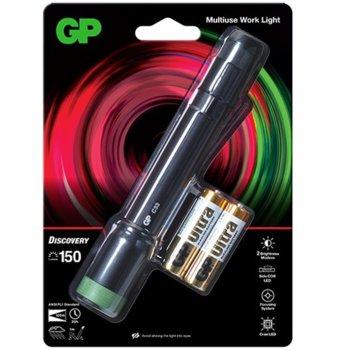 Фенер GP Batteries C33, алкални батерии, 150lm, водоустойчив, черен image