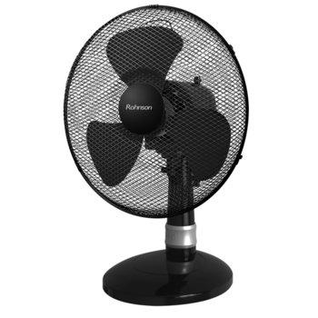 Настолен вентилатор Rohnson R-836, 40W, 30 cm диаметър, модерен дизайн, тиха работа, черен image