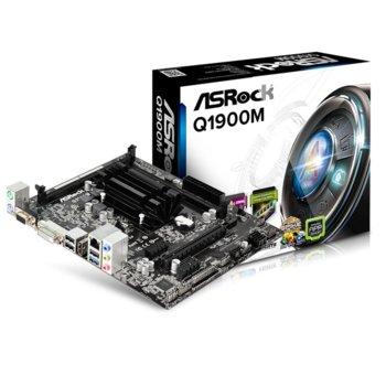 Дънна платка ASRock Q1900M, вграден четири-ядрен Celeron J1900 2GHz, PCI-E (HDMI, DVI, D-Sub), поддържа 2x DDR3/L, Lan1000, 2x SATA 3Gb/s, USB 3.0, micro ATX image