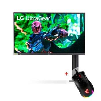 """Монитор LG 27GN880-B с подарък мишка MSI Clutch GM50, 27"""" (68.58 cm) IPS панел, 144Hz, QHD, 1ms GtG, 1000:1, 350 cd/m2, DisplayPort, HDMI image"""