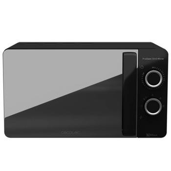 Микровълнова фурна Cecotec ProClean 3040 Mirror, свободностояща, механично управление, 700W, 20L обем, черна image