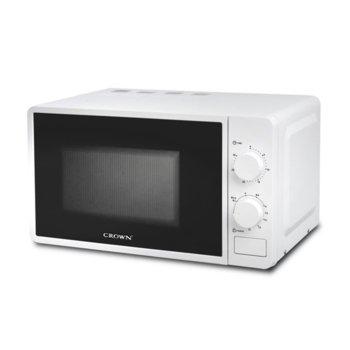 Микровълнова фурна Crown CDMO-2083, механично управление, 700 W, 20 л. обем, 5 степени на мощност, бяла image
