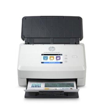 Скенер HP ScanJet Ent Flow N7000 snw1, 600 dpi, A4, двустранно сканиране, ADF, LAN, Wi-Fi, USB, бял image
