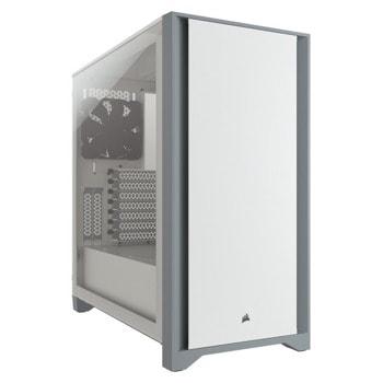 Кутия Corsair 4000D (CC-9011199-WW), ATX, 1 x USB 3.0 Type-A / 1 x USB 3.1 Type-C, 1 3,5 mm jack for mic/audio, закалено стъкло, бял, без захранване image