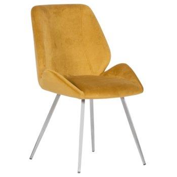 Трапезен стол Carmen Kielce, до 100кг. макс. тегло, дамаска, метална база, жълт image