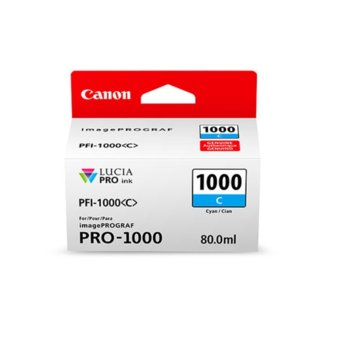 ГЛАВА ЗА Canon imagePROGRAF PRO-1000 - Cyan - 0547C001AA P№ PFI-1000 - 80ml image