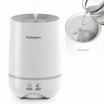 """Овлажнител Rohnson R-9506, капацитет до 100 мл./ч., технология """"студена мъгла"""" – Ultrasonic, 2 нива на овлажняване, 18 W, бял image"""