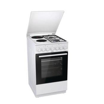 Готварска печка Gorenje K5241WF, клас А, 70 л. обем на фурната, 4 нагревателни зони (2 газови,2 електрически), AquaClean почистване, бял  image
