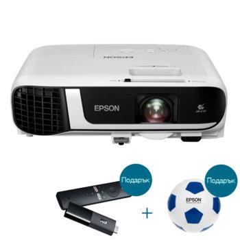 Проектор Epson EB-X51 с подарък медиа плейър Xiaomi Mi TV Stick и футболна топка Epson, 3LCD, 1024 x 768 (XGA), 16 000:1, 3800 lm, HDMI, VGA, USB image