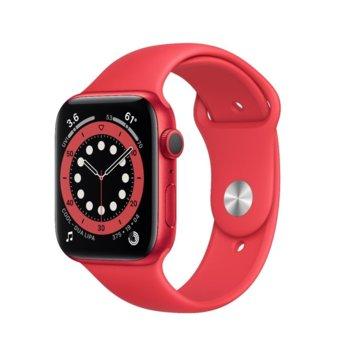 "Смарт часовник Apple Watch Series 6, 44mm, 1.78"" (4.52 cm) Retina OLED дисплей, Bluetooth, 50m water resistant, до 18 часа време на работа, Sport Band - Regular, червен  image"