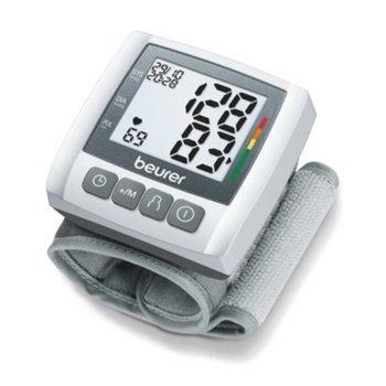 Апарат за кръвно налягане Beurer BC 30, индикатор за неправилно използване, индикатор за аритмия, автоматично изключване, функция за дата и час, бял/сребрист image