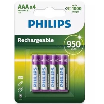 Акумулаторна батерия Philips Rechargeable R03B4A95/10, AAA, 1.2V, 950mAh, NiMH, 4бр. image
