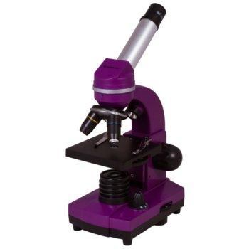 Микроскоп Bresser Junior Biolux SEL 40–1600x, 40–1600x оптично увеличение, включен набор за експерименти, светодиоднo фоново осветление, лилав image