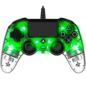 Геймпад Nacon Wired Illuminated Compact, за PS4, зелена подсветка, прозрачен image