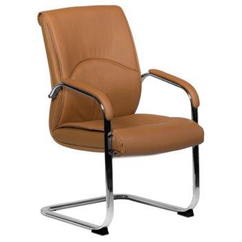 Посетителски стол Carmen 6040, еко кожа, подлакътници, кафяв image