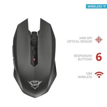 Мишка Trust GXT 115 Macci, оптична (2400 dpi), безжична, 6 бутона, USB, черна image