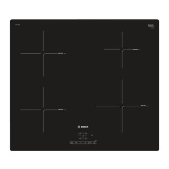 Стъклокерамичен плот за вграждане Bosch PUE611BB2E, 4 нагревателни индукционни зони, 17 степени на мощност, TopControl дигитален дисплей, PowerBoost-функция, TouchSelect, черен  image