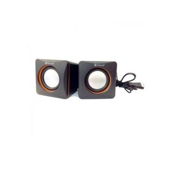 Тонколони Kisonli V400, 2.0, 6W (2x 3W), USB, 3.5mm jack, черни  image