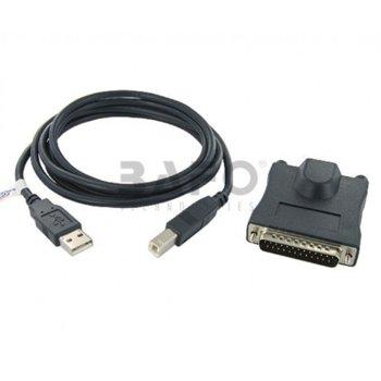 Преходник Chronos DB25M, USB A(м) към USB B(м)(DB25M), черен, Data Transfer Rate 115Kbps image