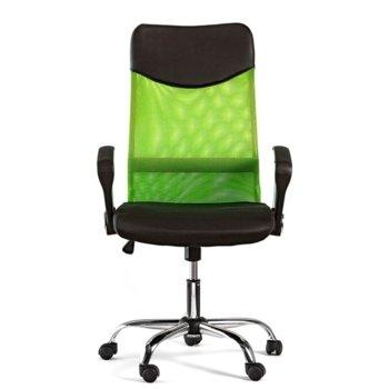 Директорски стол Monti HB, дамаска, екокожа и меш, черна седалка, зелена облегалка image