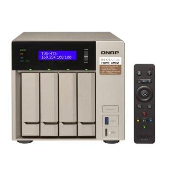 Мрежови диск (NAS) Qnap TVS-473-8G, четириядрен AMD RX-421BD 2.1/3.4GHz, без твърд диск (4x SATA), 2x 2280/2260 (SATA 6Gb/s), 8GB DDR4, 4x Gigabit, 2x HDMI, 2x USB 3.2 (Gen 2), 4x USB 3.2 (Gen 1) image