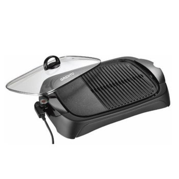 Електрическа грил-скара Grento GL3420, 2000 W, терморегулатор, капак от стъкло с дръжка, незалепващо покритие, черна image